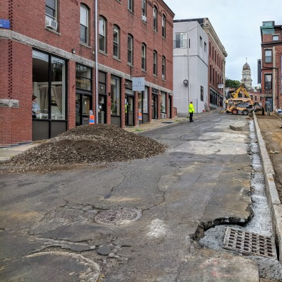 view from Roger back to City Hall_Duncan Street construction Gloucester MA DPW_20180912_© c ryan