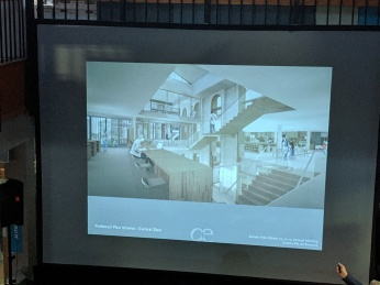 3 story central glass staircase_architect presentation_SFL Annual meeting installation views_Gloucester MA_20190520 ©c ryan
