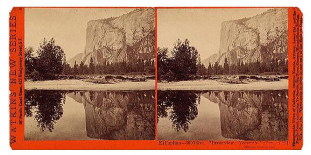 Carleton Watkins . Stereograph of El Capitan in Yosemite, c. 1865 . courtesy of Library of Congress.jpg