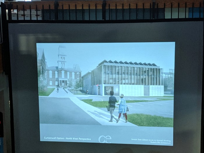 EXTERIOR addition added to Monell_view from fire station_architect presentation_SFL Annual meeting installation views_Gloucester MA_20190520 ©c ryan