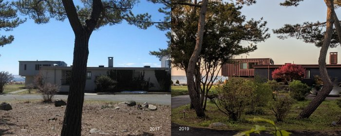 Gloucester Mass home_Architect Donald F Monell commission_later interior library addition_ views 2015 vs 2017