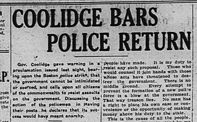 Gov Coolidge Boston Police Strike GDT Sept 25 1919