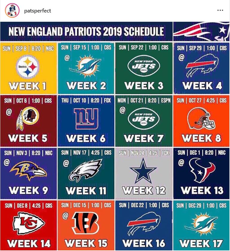 It's just a graphic of Sly New England Patriots Printable Schedule