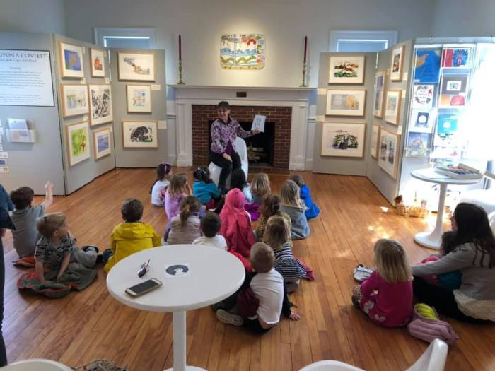 photo courtesy Beth Welin_Once Upon a Contest Cape Ann Reads Carol Bender with Leslie Galacar at Manchester Historical Museum (2)