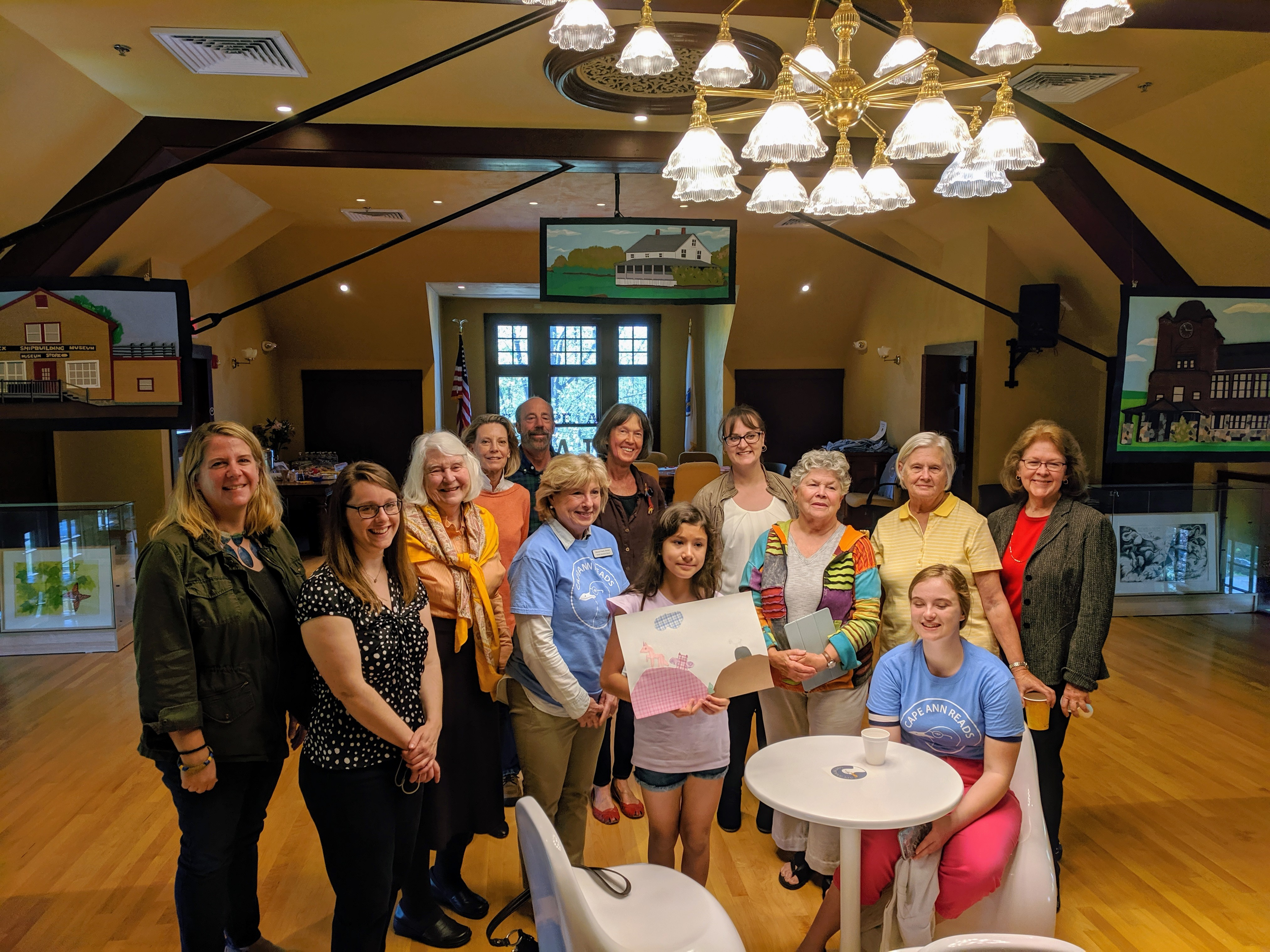 Reception at TOHP Burnham Library Essex Mass._ artists and writers of Once Upon a Contest Selections from Cape Ann Reads exhibition _20190518_about 60 guests all ages stopped by © c ryan (10).jpg