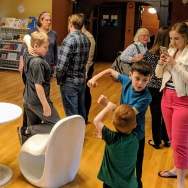 Reception at TOHP Burnham Library Essex Mass._ Once Upon a Contest Selections from Cape Ann Reads exhibition _20190518_about 50 guests all ages dropped in © c ryan (18)