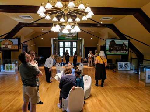 Reception at TOHP Burnham Library Essex Mass._ Once Upon a Contest Selections from Cape Ann Reads exhibition _20190518_about 50 guests all ages dropped in © c ryan (20)