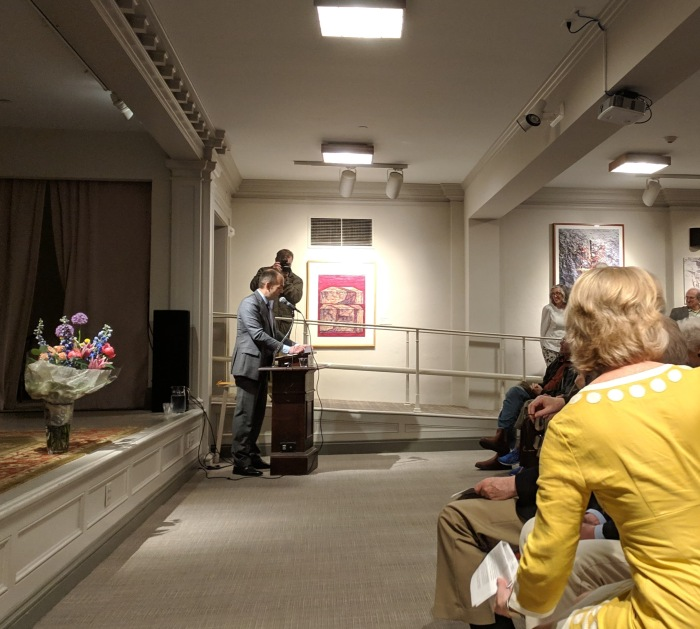Ronda helping someone find a seat during her intro_20190504_Cape Ann Museum © c ryan