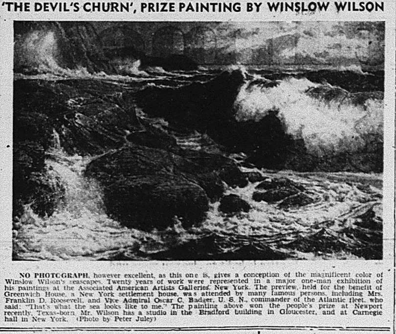 1951 The Devil's Churn prize painting by Winslow Wilson AAA show_ad mentions studio in Carnegie Hall in NY and Bradford building in Glo