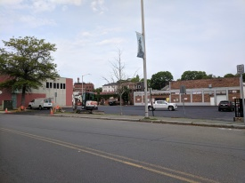 "DPW work at Rose Baker Senior Center ""just binder now then on to the ramps and finally top coat."""