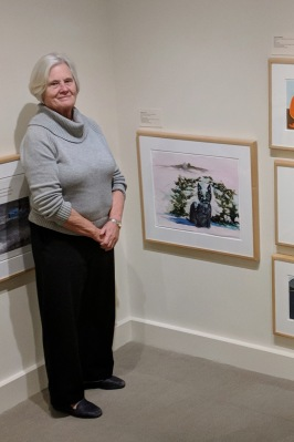 marion Hall at Cape Ann Museum near her watercolor for Lets Go_20181222_©c ryan