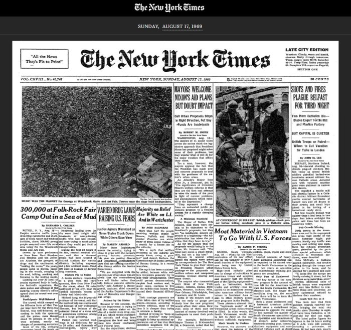 Woodstock front page New York Times Sunday August 17 1969