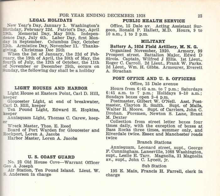 1938 City Directory Lighthouses