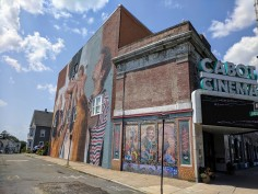 artist HELEN BUR wall art street art mural Beverly Mass_Cabot theater wall_July 2019_alongside Le Grand David Magic mural circa 1990 ©c ryan