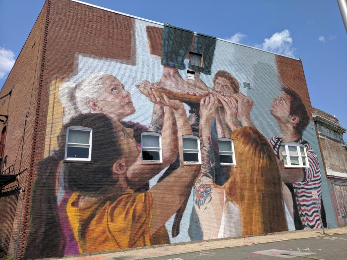 artist HELEN BUR wall art street art mural Beverly Mass_Cabot theater wall_July 2019_©c ryan (1)