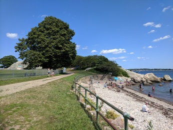 Cressy Beach Stage Fort Park looking back to Stephenson sea serpent mural_20190721_©c ryan