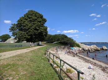 Cressy Beach Stage Fort Park looking back to Stephenson sea serpent mural_20190721_©c ryan