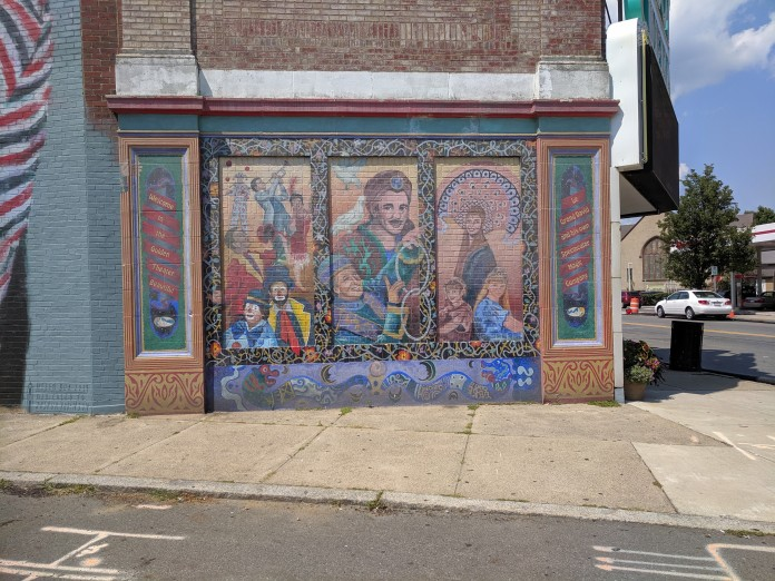 Le Grand David and his own Spectacular Magic Company Cabot theater mural circa 1990 with help from Montserrat college students_Beverly MA_©c ryan