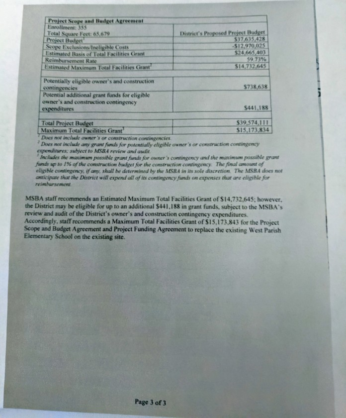 page 1 of 3 west parish project scope and budget Jan 23, 2014 (3)