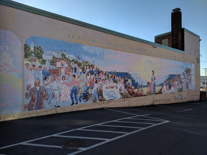 artist Be Sargent mural of Judith Sargent Murray Gloucester MA _20180422_photo copyright Catherine Ryan