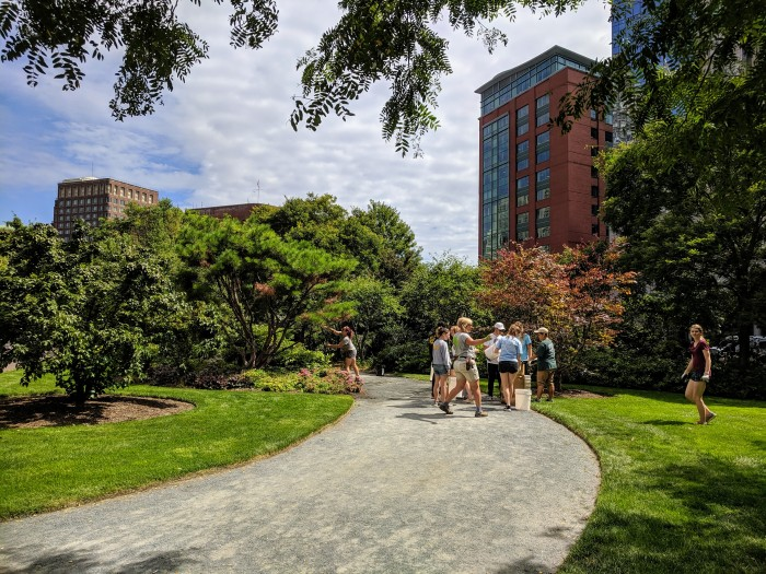 college students from Boston University volunteer grounds keeping before the semester kicks off_ at The Greenway_Boston Mass_20190828_©c ryan.jpg