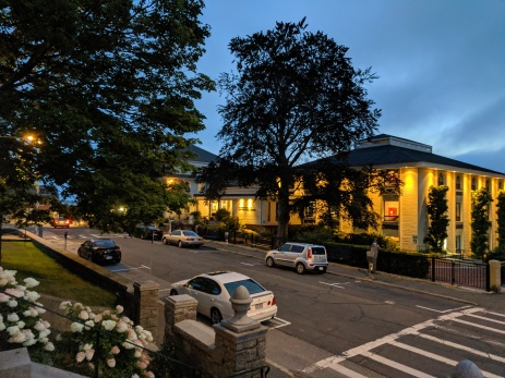 Sawyer Free Library exterior nocturne_20190815_Once Upon a Contest evening ©c ryan