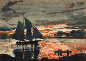 Winslow Homer, Sunset Fires, 1880 Watercolor on paper, The Westmoreland Museum of American Art, Greensburg, Pennsylvania Gift of the William A Coulter Fund 1964