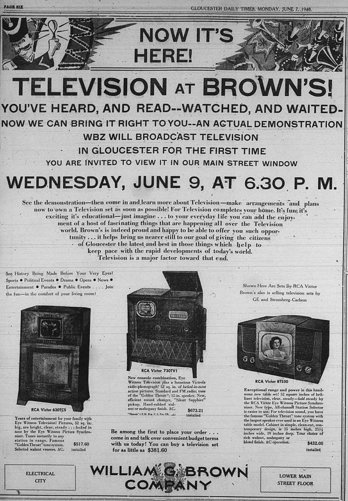 Brown Comp TV ad GDt June 7 1948
