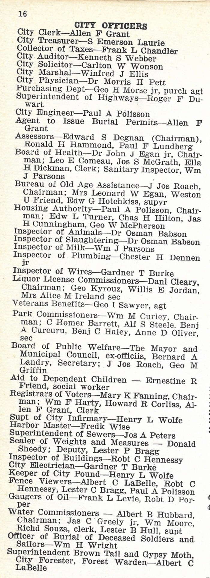 City Officers 1948 directory