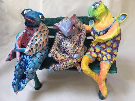 Maria Lauenstein, Three Friends on a Bench, painted papier maché