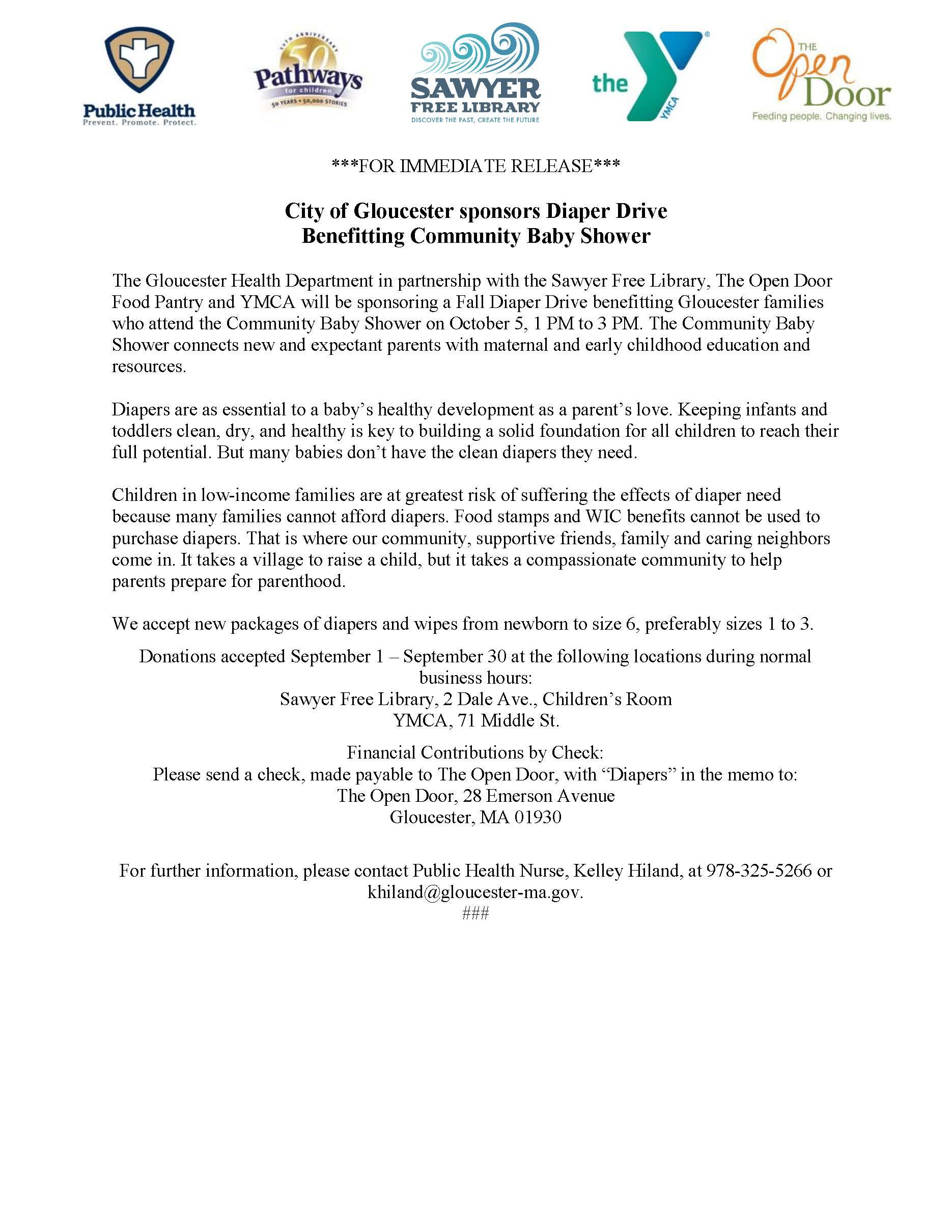 Diaper Drive Press Release