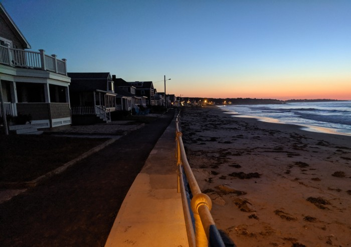 September sunrise_ high tide splashed over seawall_Long Beach Rockport Gloucester Mass_20190921_© cryan (2)