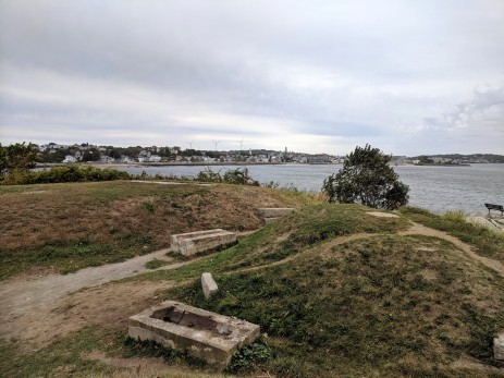 cannons site stage fort park Gloucester Massachusetts_20191009_ two canonns removed for cleaning ©c ryan