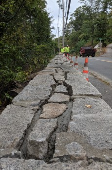 Gloucester DPW stone wall repair underway_temporary plastic cover ahead of forecast nor'easter 20191009_©c ryan
