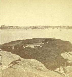 historic fort as it was photograph circa 1870_shows gun embrasure and cannon steps and ports Stage Fort Park Gloucester MA