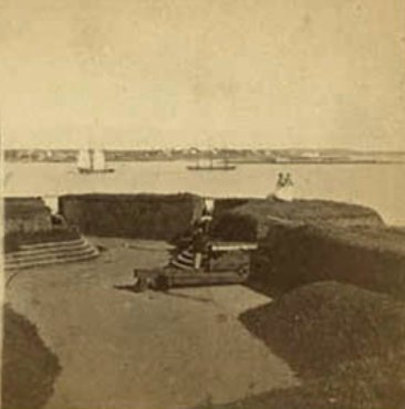 historic stereoview woman on fort conant stage fort park after civil war.jpg