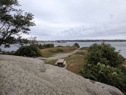 overlooking cannons site_ stage fort park Gloucester Massachusetts_20191009_ two cannons removed for restoration ©c ryan