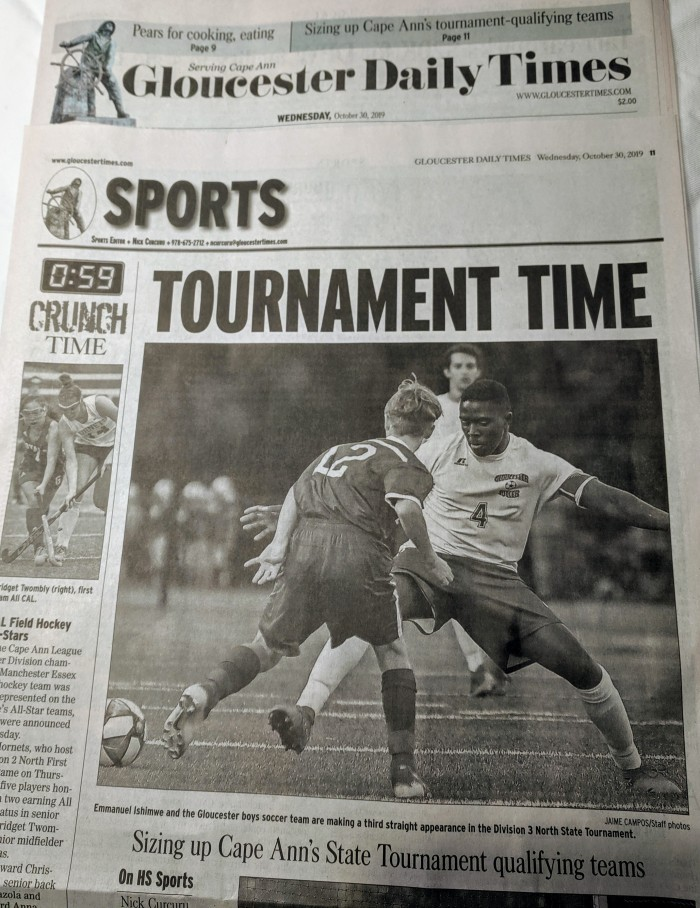 Sports page Gloucester Daily Times_20191030