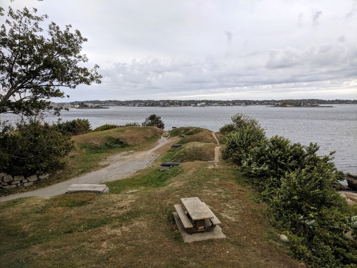 view over cannons at Stage fort_view of Gloucester Harbor_ Ten Pound Island_Gloucester Massachusetts_20191009_ ©c ryan