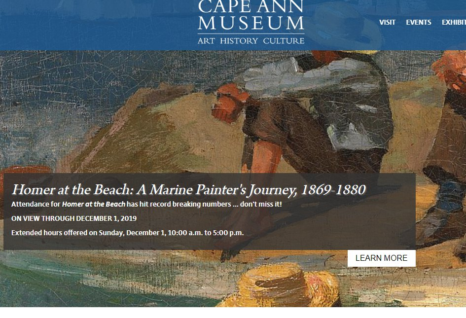 extended hours at Cape Ann Museum for Winslow Homer exhibit