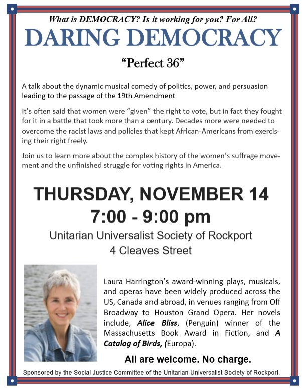 LAURA HARRINGTON Perfect 36 discussion at Rockport UU November 2019 flyer