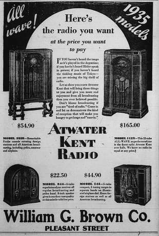 Ad for Radios Dec 6 1934