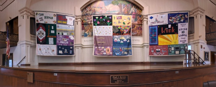 aids quilts on display november december 2019 Kyrouz Auditorium City Hall Gloucester MA ©c ryan