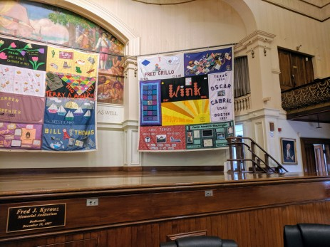 Cape Ann contributions to the Aids Quilt Names Project_public art on temporary display at City Hall Gloucester MA Nov December 2019_Gloucester Health Project (3)