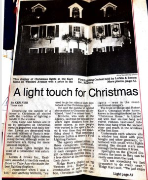 Gloucester Daily Times article A Light Touch for Christmas by Ken Fish ca.1985 page 1 - courtesy Pauline Bresnahan
