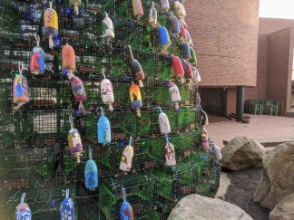 Lobster trap tree Gloucester Ma 2019 day_ buoys hand painted by community kids facilitated by Cape Ann Art Haven ©c ryan (1)