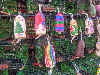 Lobster trap tree Gloucester Ma 2019 day_ buoys hand painted by community kids facilitated by Cape Ann Art Haven ©c ryan (10)