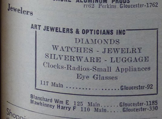 Art Jewelers Blanchard Main Street shops 1956 yellow pages Gloucester MA
