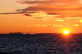 Boston Skyline Sunset from Gloucester Massachusetts -2 copyright Kim Smith