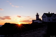Eastern Point Lighthouse Sunset Mother Ann Rock Gloucester Massachusetts copyright Kim Smith